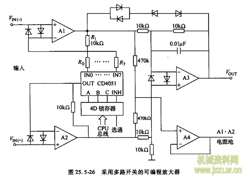 a1,a2,a3组成差动式放大器,a4为电压跟随器,其输入端取自共模输入端