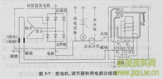 汽车常用的发电机,电压调节器和用电部分线路如
