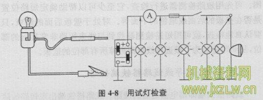 20.电器线路导线断路、短路的检查方法 (1)导线断路故障 电器线路导线断路就是电流的通路受阻,不能形成电流回路。平常工作中 所说的搭铁不良故障,大多是指搭接导线断路故障。一是完全断路,一般有导 线断开、连接端子锈蚀、搭铁导线根本没有与车身搭铁几种情况。对于这类故 障,其搭铁线失去了任何作用.