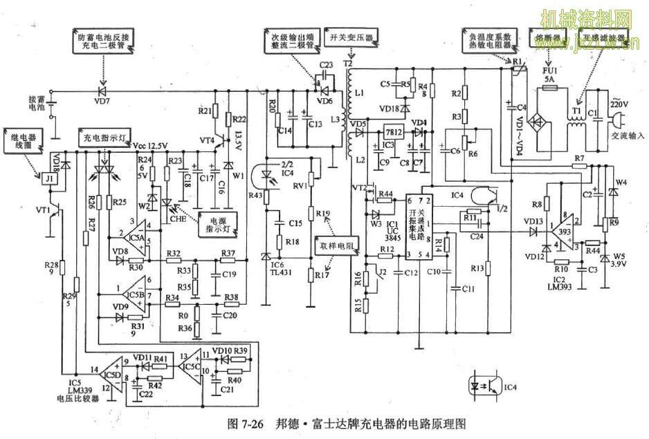 邦德·富士达牌充电器的电路原理图