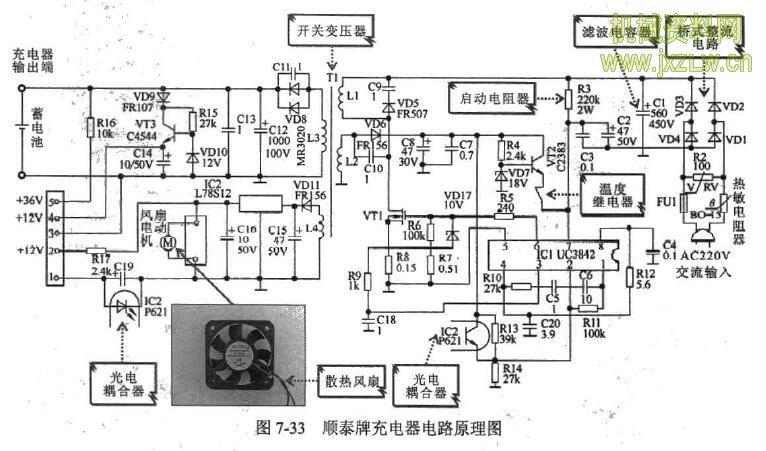 (1)按图7-34所示的方法,检测充电器散热风扇电动机的供电电压