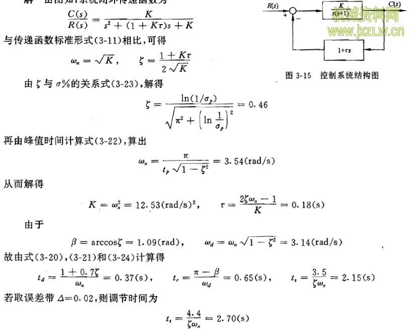 当阻尼比ζ>1,且初始条件为零时
